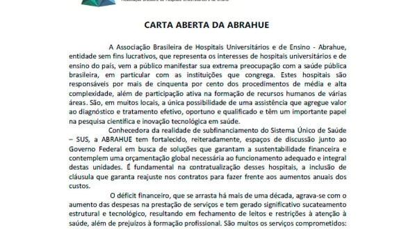 Carta aberta da ABHAHUE